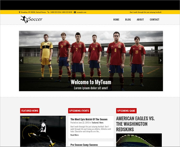 free responsive sports html5 php template
