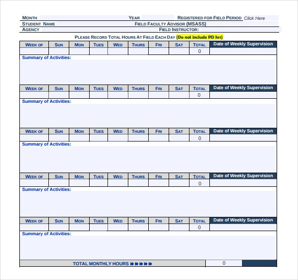 education monthly timesheet template in pdf