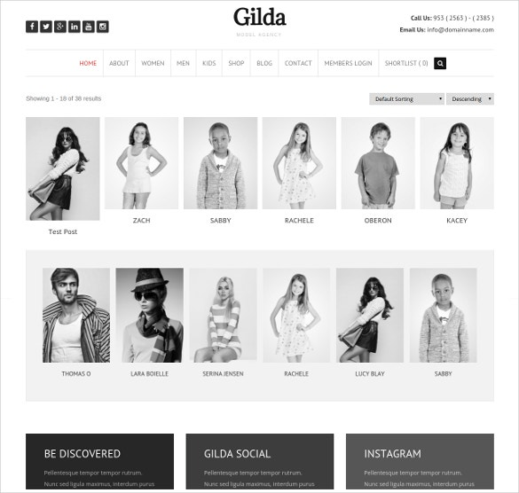 art fashion model agency wordpress pportfolio cms theme 59