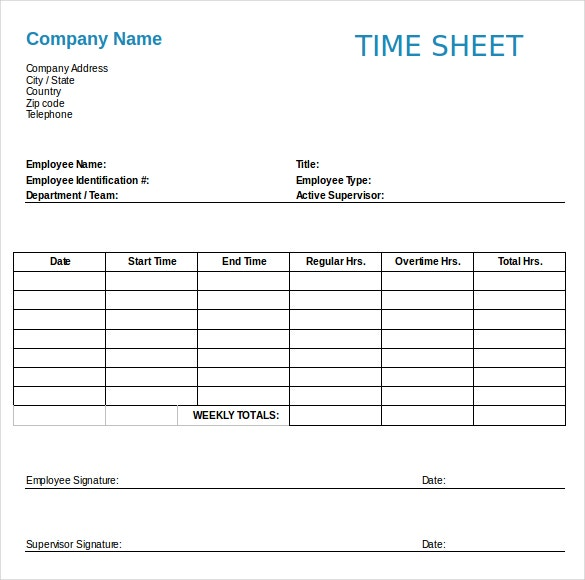 Employee Timesheet Templates  Free Sample Example Format