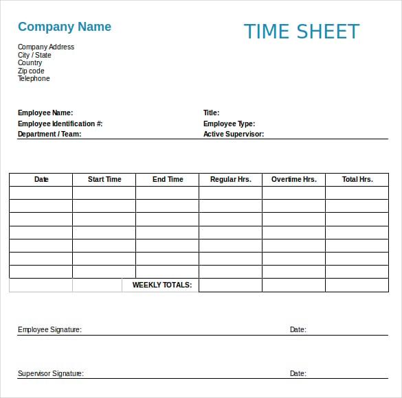 employee time sheet free