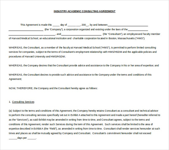 Sample Consultancy Agreement Simple Consulting Agreement Template