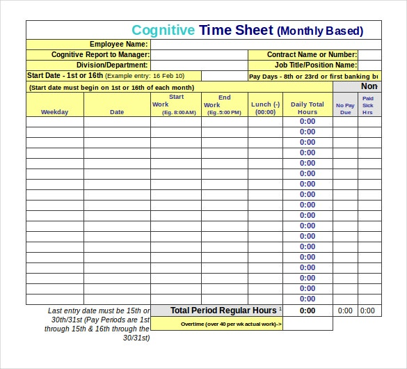22 employee timesheet templates free sample example format