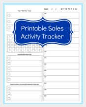 Sales Activity Tracker Daily Planner Template Sample Download