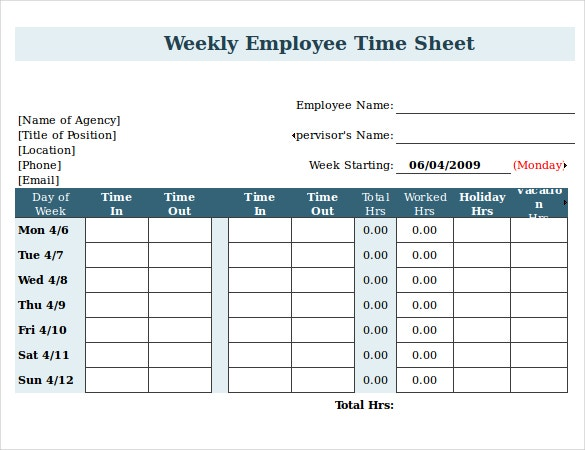 employee time sheet with breaks in ms excel format