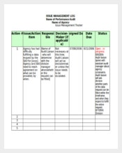 Excel Format of Issue Management Tracking Template