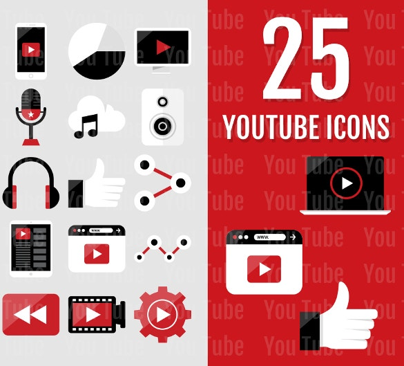 collection of 25 multiple youtube icons download