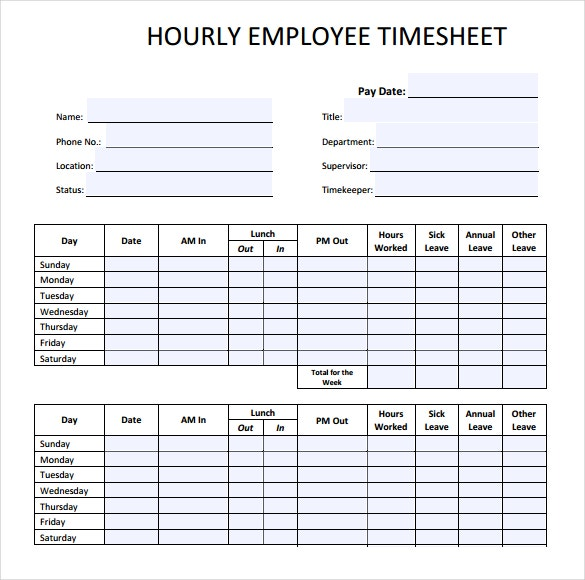employee hourly timesheet template download in pdf