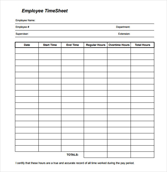 printable employee timesheet template download in pdf