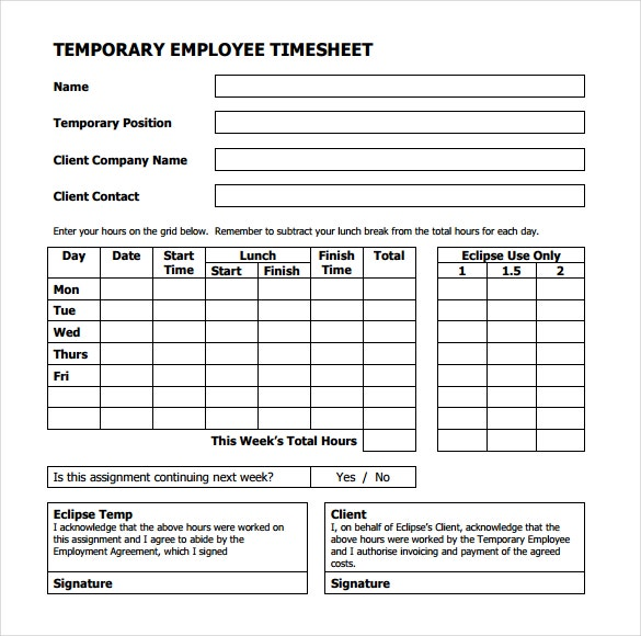 temporary employee timesheet template in pdf format