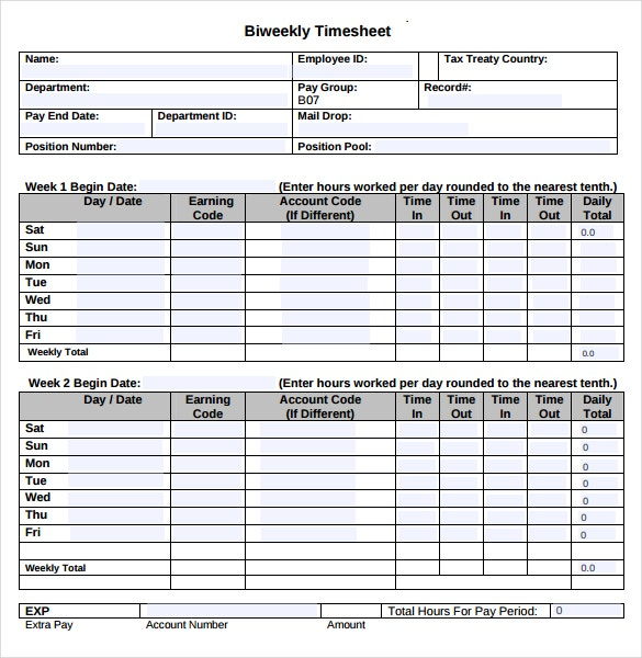 employee bi weekly timesheet template download in pdf