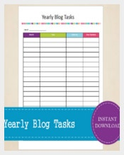 Yearly Blog Tasks Tracker Template Sample Download