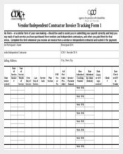 Vendor Independent Contractor Invoice Tracking Form Template Sample Download