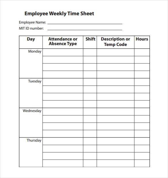 employee weekly time sheet pdf template download