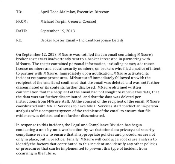 incident response report email memo template free format