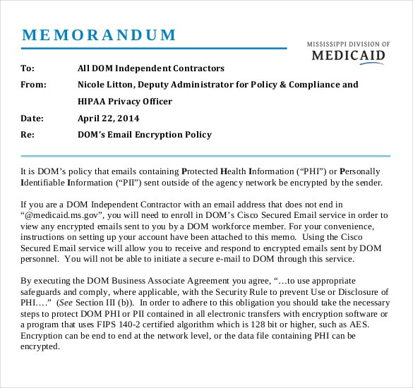 email encryption memo template example