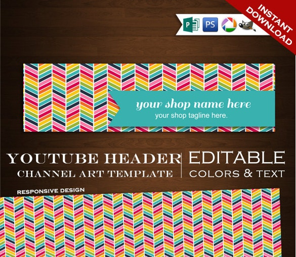 youtube header template instant download