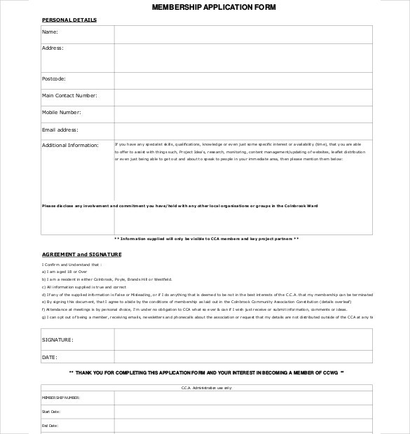 Membership Application Form Download  Membership Forms Templates
