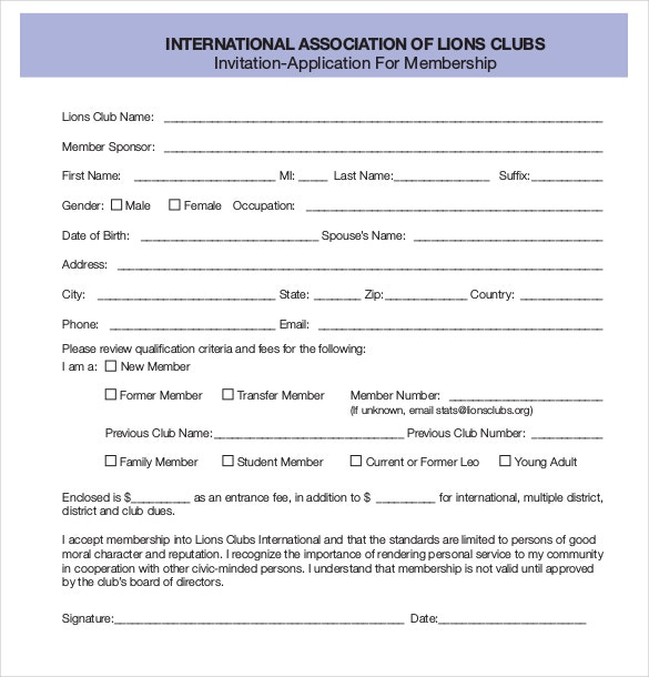 Exceptional Invitation Application For Membership PDF Format Free Download Regarding Membership Forms Templates