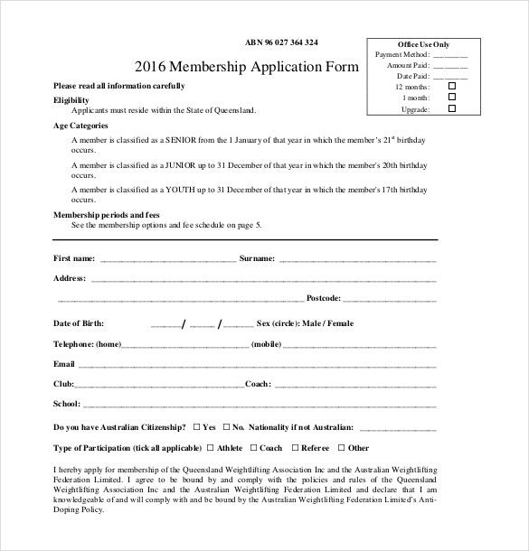 2016 Membership Application Form PDF Free Download  Club Membership Form Template Word