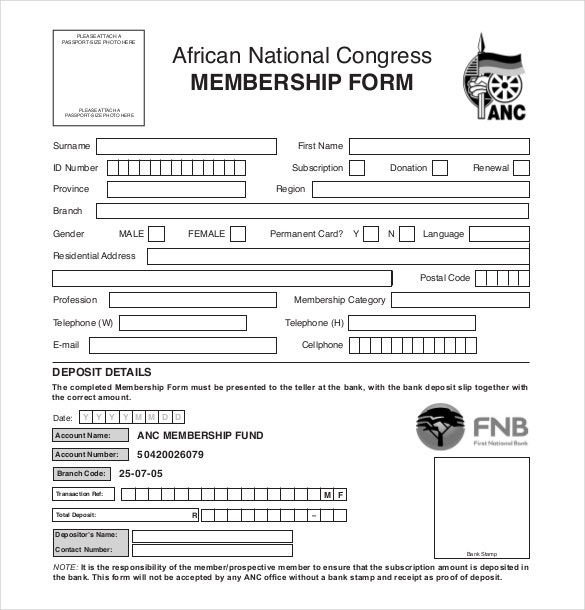 African National Congress Membership Form Download And Membership Forms Templates