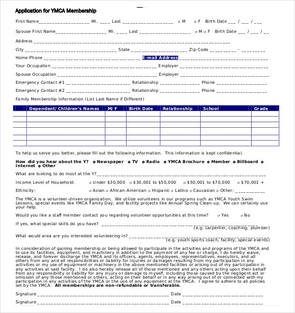 YMCA Application Membership Form PDF Format  Club Membership Form Template Word