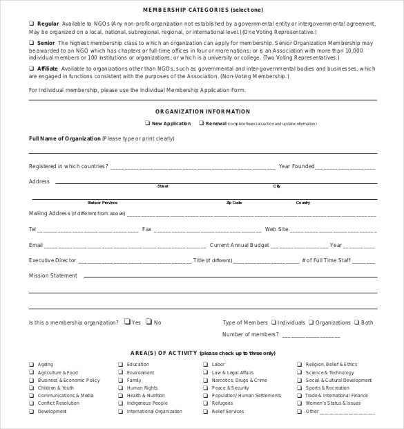 Elegant NGO Application Form PDF Format Download On Membership Forms Templates