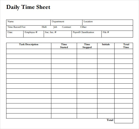12 Daily Timesheet Templates Free Sample Example Format – Free Timesheet Forms