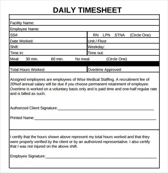 12 Daily Timesheet Templates Free Sample Example Format – Free Timesheet Form