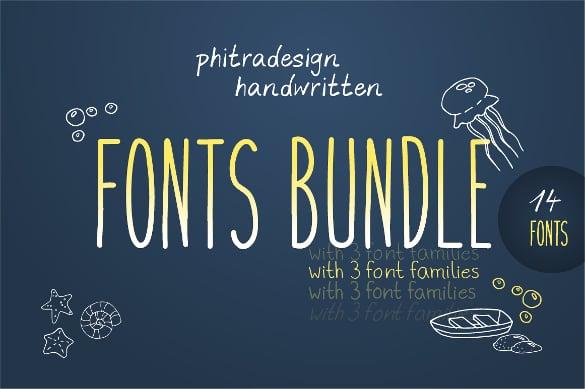 handwritten font bundle download
