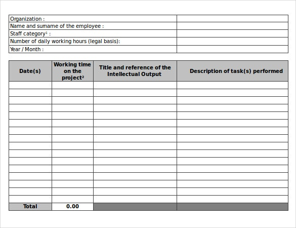 21 daily timesheet templates free sample example for Daily timesheet template excel 2010