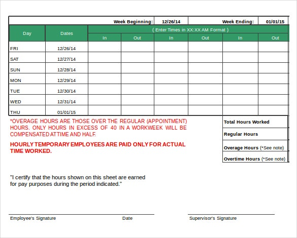 12+ Daily Timesheet Templates – Free Sample, Example Format ...