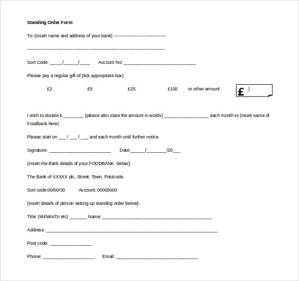 Standing Order Form Template Free Download MS Word
