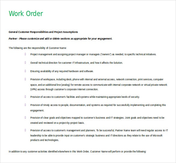 mechanic work order