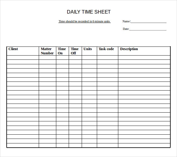 samples of time sheets