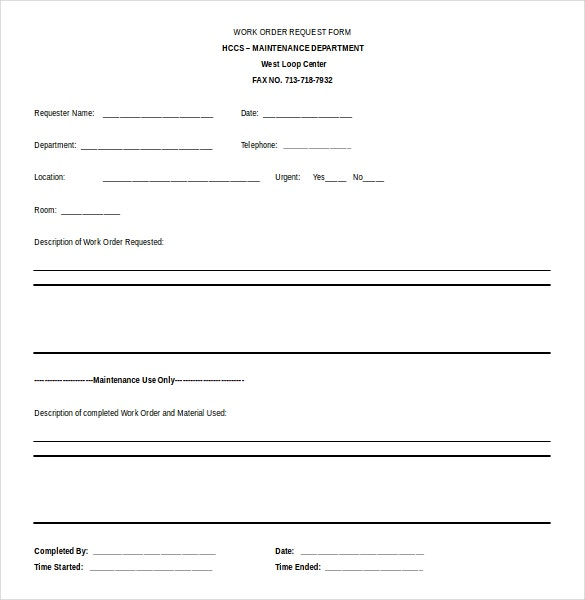 Good Free Word 2010 Work Order Request Form Template