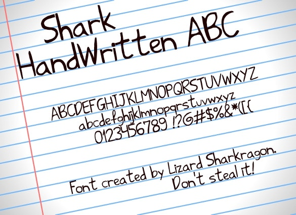shark handwritten fonts download