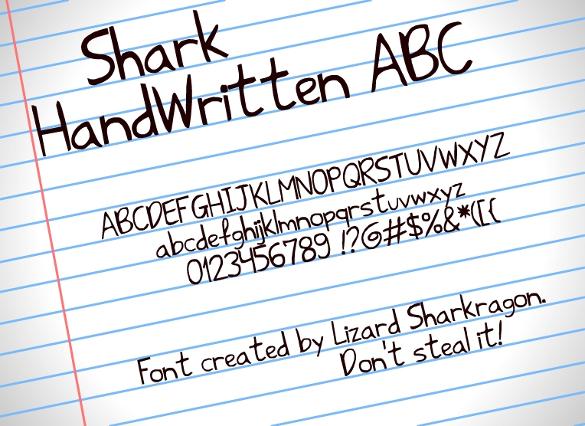 shark handwritten fonts download