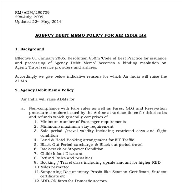 agency debit memo policy free format download