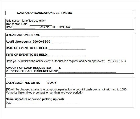 Example Template For Petty Cash Debit Memo  Letter Of Debit Note