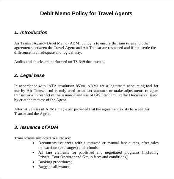 company travel policy template - 12 debit memo templates free sample example format