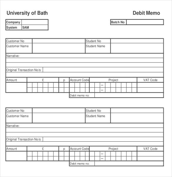debit memo and credit memo