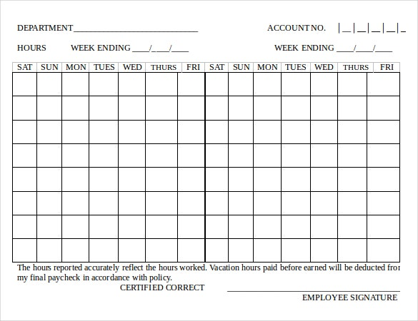 18 bi weekly timesheet templates � free sample example