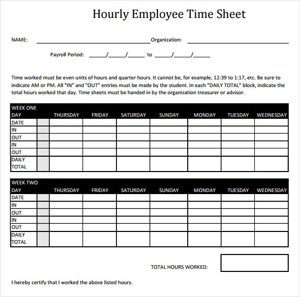 12+ Hourly Timesheet Templates – Free Sample, Example Format ...