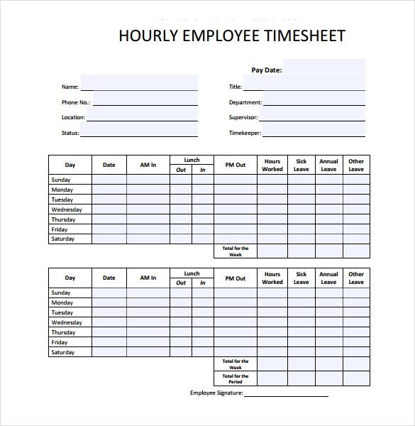 Hourly Timesheet Templates  Free Sample Example Format
