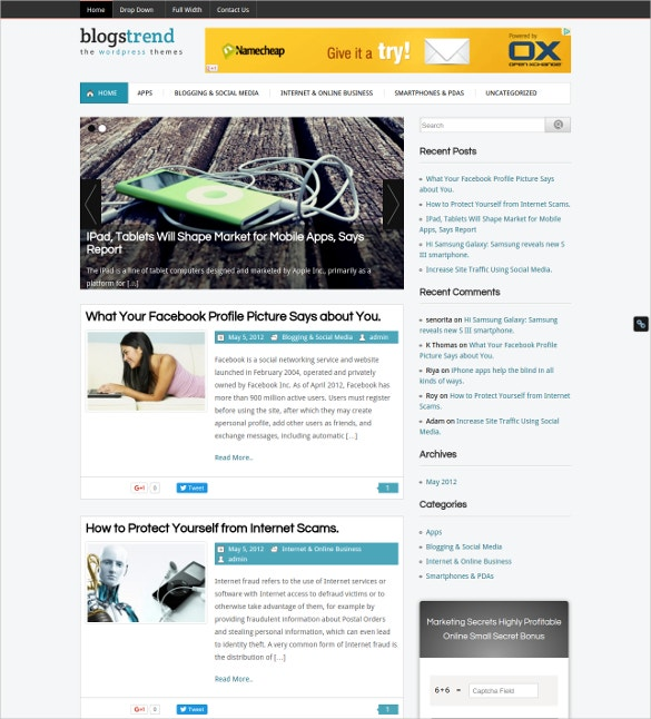 trendy blog wordpress website template