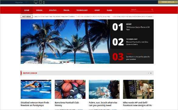 sports magazine blog template