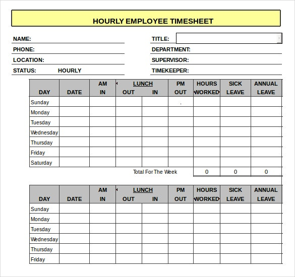 Daily Timesheet Excel Template – Cccccca