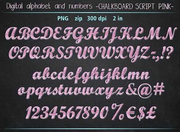 chalkboard pink and blue script font download