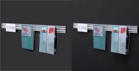 wall mounted brochure display rack desk up